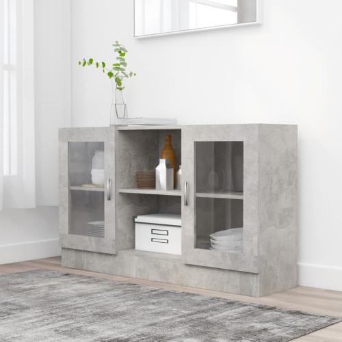 vidaXL Vitrinskåp betonggrå 120x30,5x70 cm spånskiva