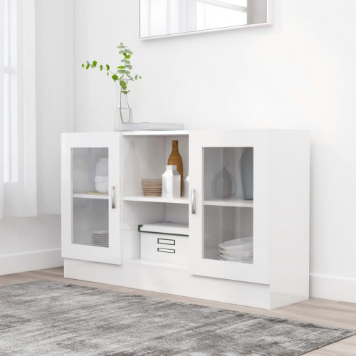 Dream Living Vitrinskåp vit högglans 120x30,5x70 cm spånskiva