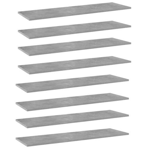 vidaXL Hyllplan 8 st betonggrå 100x30x1,5 cm spånskiva