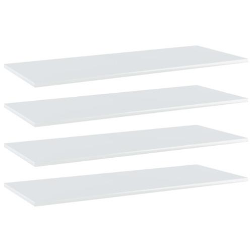vidaXL Hyllplan 4 st vit högglans 100x40x1,5 cm spånskiva