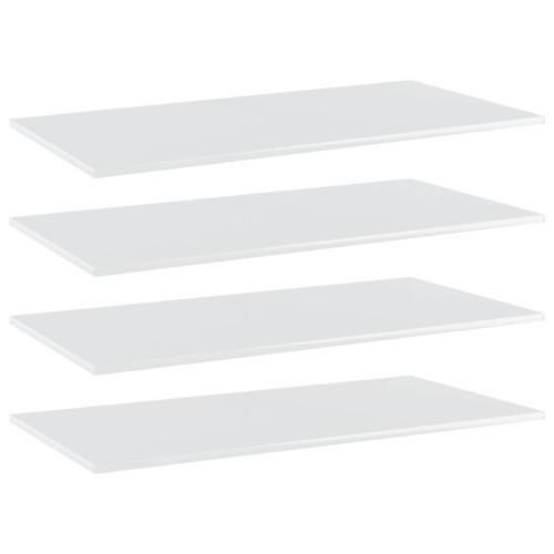 vidaXL Hyllplan 4 st vit högglans 100x50x1,5 cm spånskiva