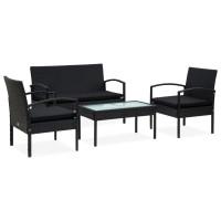 Dream Living Loungegrupp för trädgården med dynor 4 delar konstrotting svart