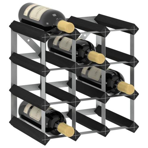 Dream Living Vinställ för 12 flaskor svart massiv furu