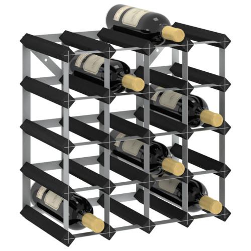 Dream Living Vinställ för 20 flaskor svart massiv furu