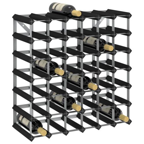Dream Living Vinställ för 42 flaskor svart massiv furu