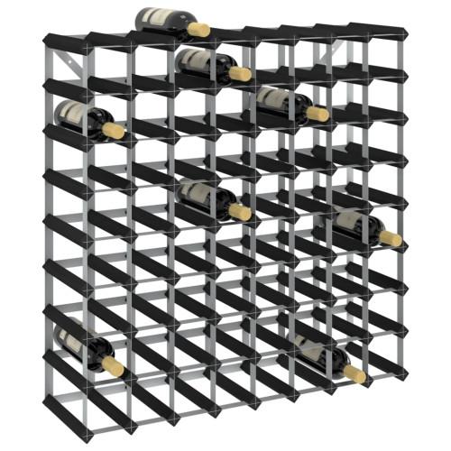 Dream Living Vinställ för 72 flaskor svart massiv furu
