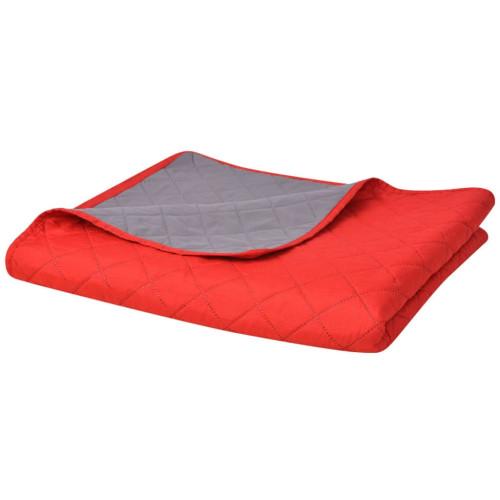 vidaXL Dubbelsidigt vadderat överkast röd och grå 220x240 cm