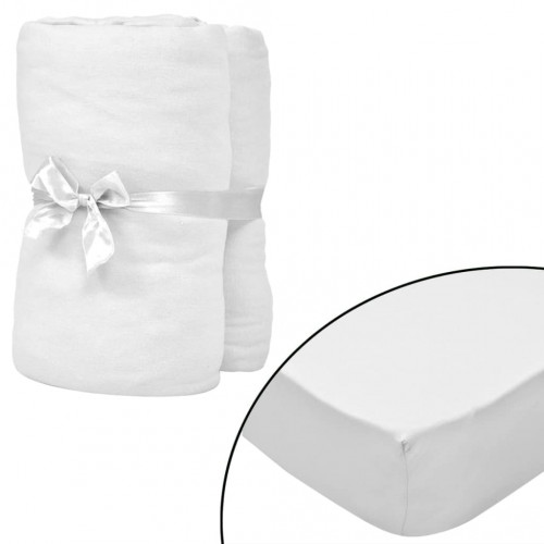 vidaXL Dra-på-lakan för barnsäng 4 st 40x80 cm bomullsjersey vit