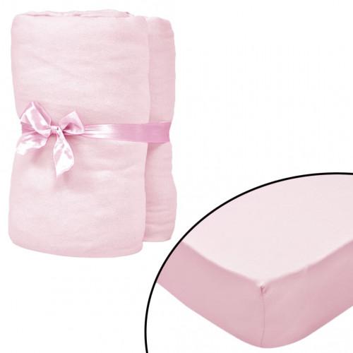 vidaXL Dra-på-lakan för barnsäng 4 st 40x80 cm bomullsjersey rosa