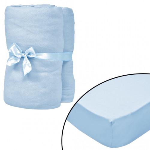 vidaXL Dra-på-lakan för barnsäng 4 st 40x80 cm bomullsjersey ljusblå