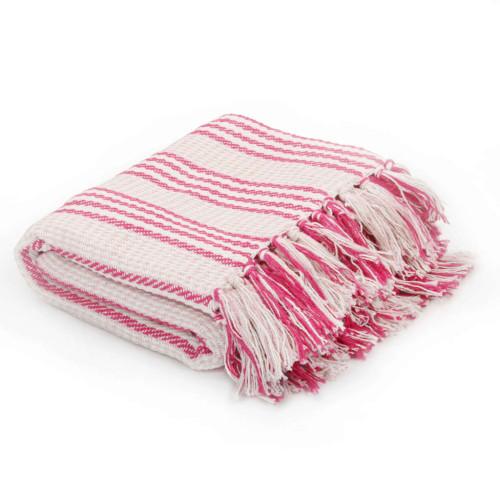 vidaXL Filt bomull ränder 125x150 cm rosa och vit