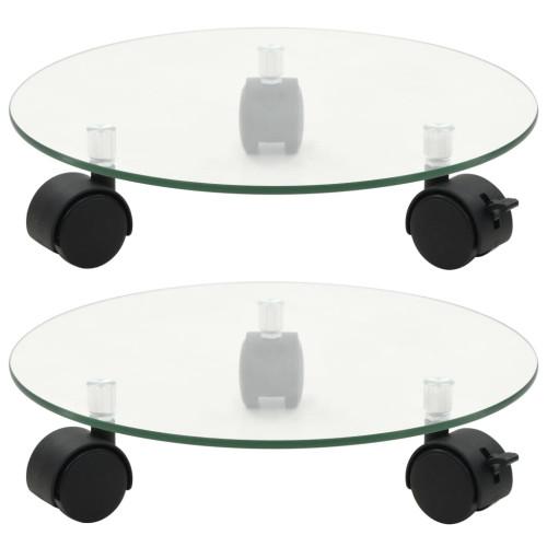 vidaXL Växtställ på hjul 2 st härdat glas 28 cm rund