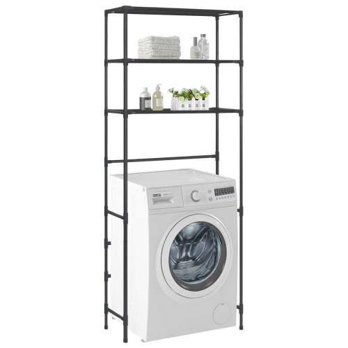 Dream Living Hylla för tvättmaskin med 3 hyllplan svart 69x28x169 cm
