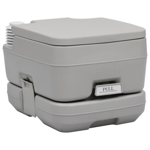 vidaXL Portabel campingtoalett grå 10+10 L