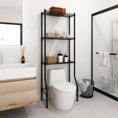 Dream Living Toaletthylla med 3 hyllplan svart 55x30x150 cm järn