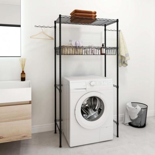 vidaXL Hylla för tvättmaskin med 2 hyllplan svart 75x35x150 cm