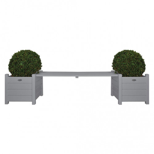 Esschert Design Esschert Design Blomlådor med bänk Grå CF33G