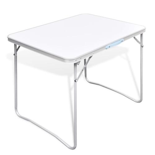 vidaXL Campingbord med metallram, hopfällbar 80 x 60 cm