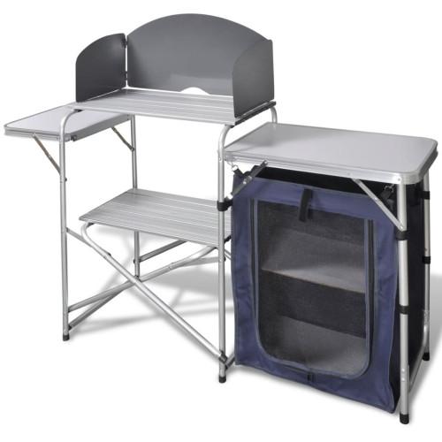 vidaXL Campingkök med vindskydd i aluminium