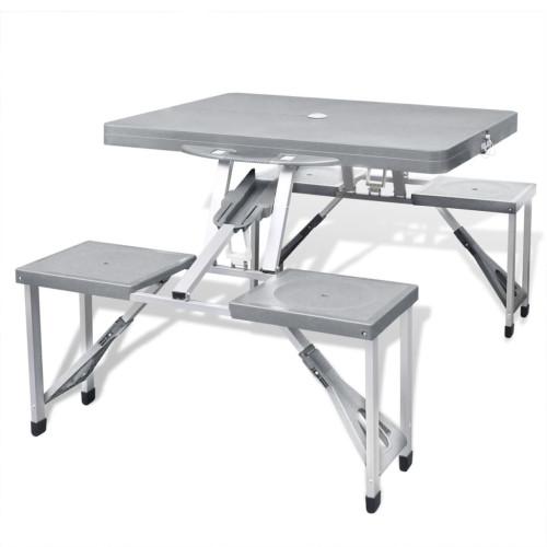 vidaXL Hopfällbart campingbord med 4 stolar i aluminium ljusgrått