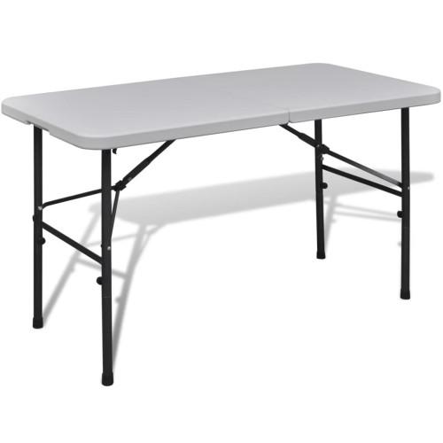 vidaXL Trädgårdsbord hopfällbar 122 cm Vit