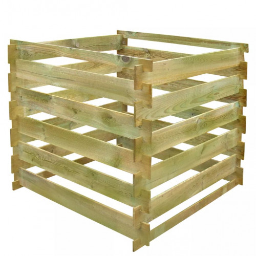 vidaXL Kompostbehållare 0,54 m3 fyrkantig trä