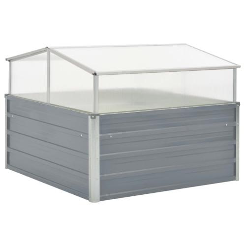 vidaXL Växthus 100x100x85 cm galvaniserat stål grå