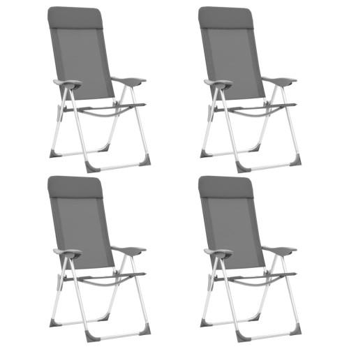 vidaXL Hopfällbara campingstolar 4 st aluminium grå