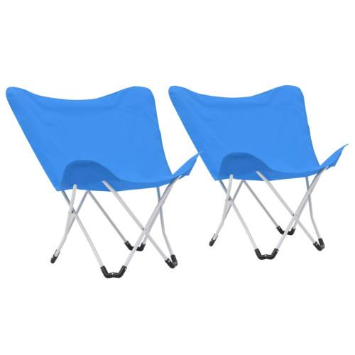 vidaXL Campingstolar 2 st hopfällbara blå