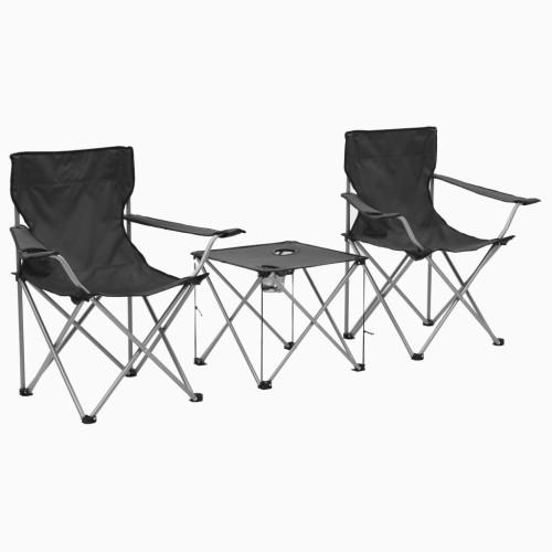 vidaXL Campingbord och stolar 3 delar grå