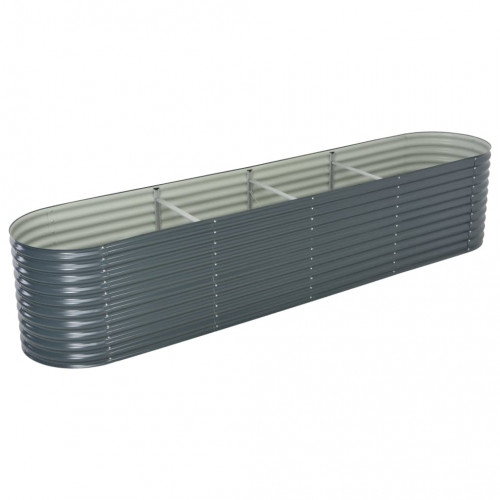 vidaXL Odlingslåda upphöjd galvaniserat stål 400x80x81 cm grå