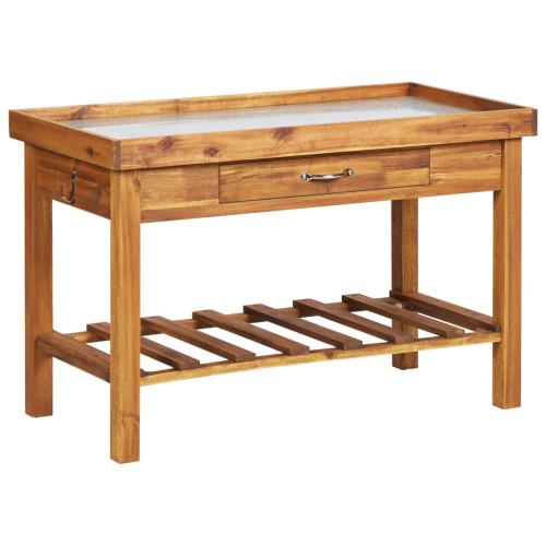 Dream Living Planteringsbord med ovansida i zink massivt akaciaträ