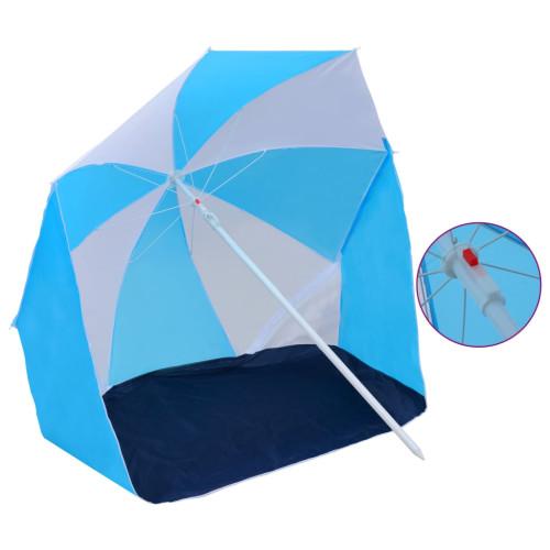 vidaXL Strandtält/parasoll blå och vit 180 cm tyg