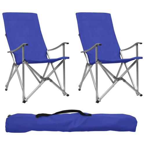 vidaXL Hopfällbara campingstolar 2 st blå