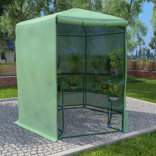 vidaXL Växthus med hyllor stål 227x223 cm