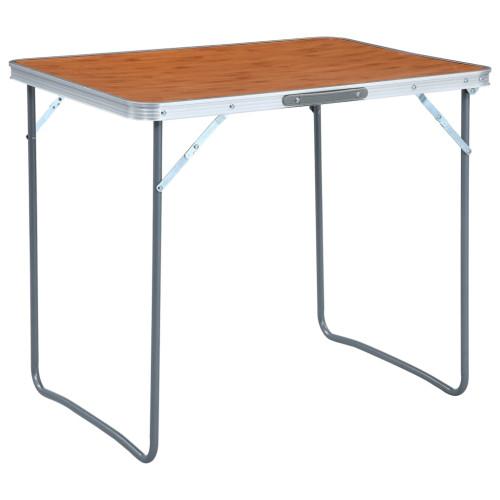 vidaXL Hopfällbart campingbord med metallram 80x60 cm