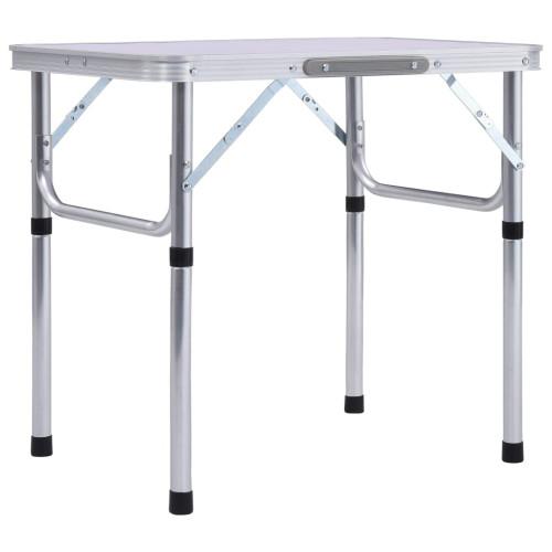 vidaXL Hopfällbart campingbord vit aluminium 60x45 cm