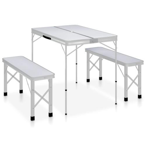 vidaXL Hopfällbart campingbord med 2 bänkar aluminium vit
