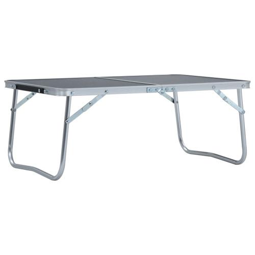 vidaXL Hopfällbart campingbord grå aluminium 60x40 cm