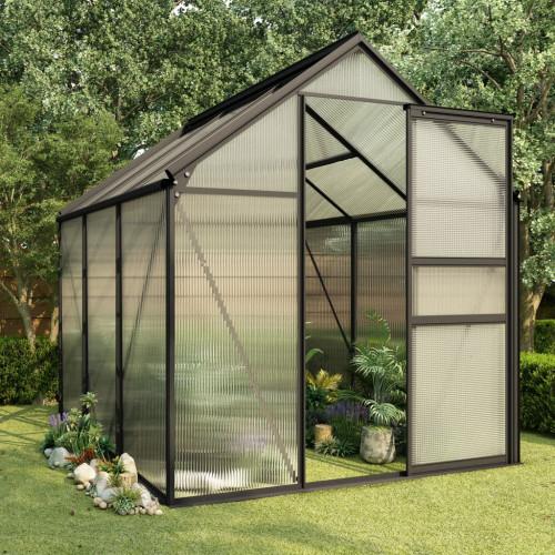 vidaXL Växthus antracit aluminium 3,61 m²