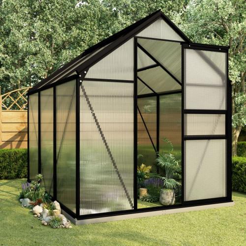 vidaXL Växthus med basram antracit aluminium 3,61 m²