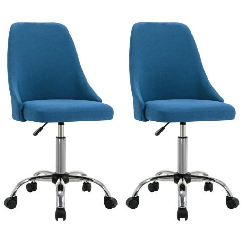 Dream Living Rullbara kontorsstolar 2 st blå tyg