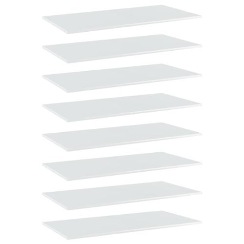 Dream Living Hyllplan 8 st vit högglans 80x30x1,5 cm spånskiva