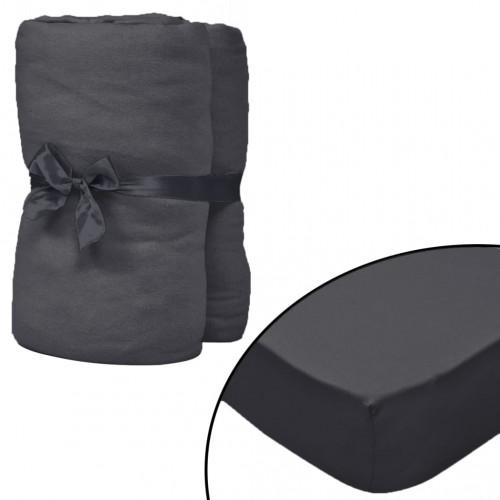 vidaXL Dra-på-lakan för vattensäng 2 st 2x2,2m bomullsjersey antracit