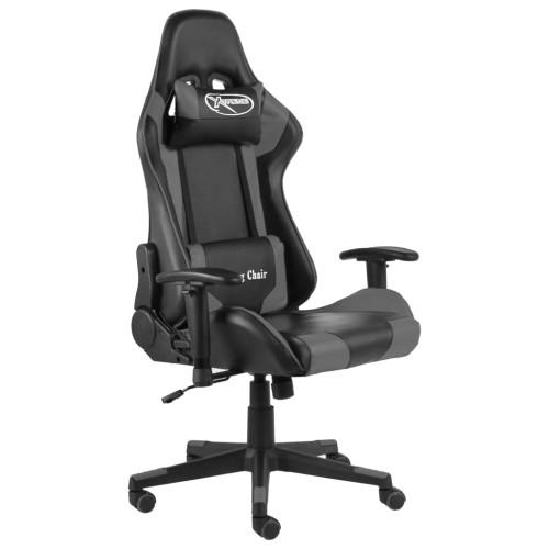 vidaXL Snurrbar gamingstol grå PVC