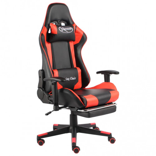 vidaXL Snurrbar gamingstol med fotstöd röd PVC