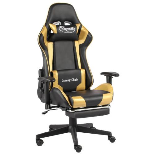 vidaXL Snurrbar gamingstol med fotstöd guld PVC