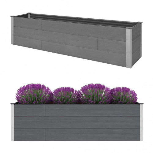 Dream Living Odlingslåda upphöjd grå 200x50x54 cm WPC