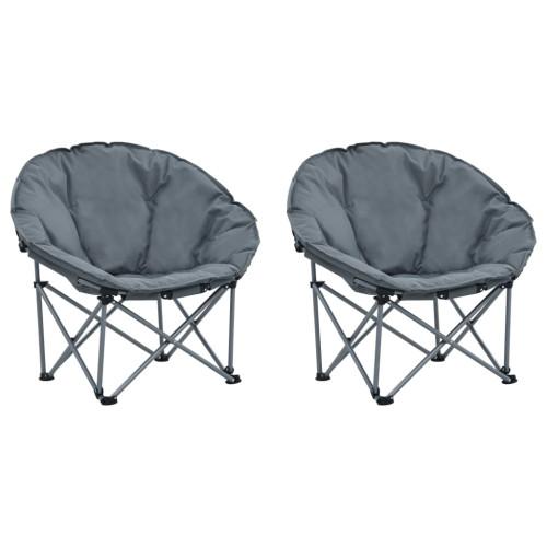 vidaXL Hopfällbara månstolar 2 st grå
