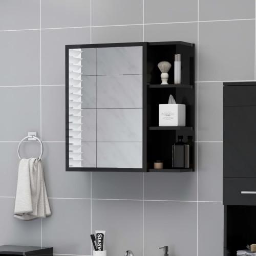Dream Living Spegelskåp för badrum svart högglans 62,5x20,5x64 cm spånskiva